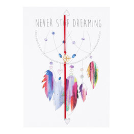 Wenskaart met armband - Never stop dreaming
