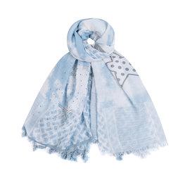 Sjaal stars/peace - Blauw
