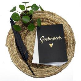 Gastenboek invulkaarten - zwart/goud