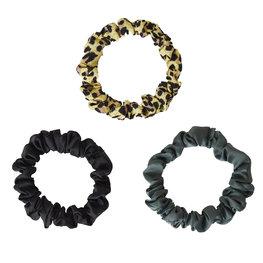 Set van 3 haarelastieken - Groen/zwart