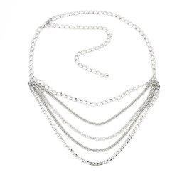 Metalen riem ketting - Zilver