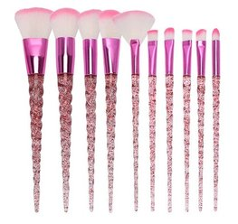 Make up kwasten set 10/st - unicorn roze glitter