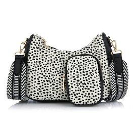 Schoudertas met coin purse Cheetah - Zwart/wit