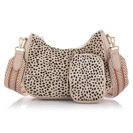 Schoudertas met coin purse Cheetah - Beige