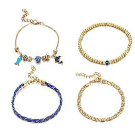 Enkelbandjes set 4 delig - Goud/blauw