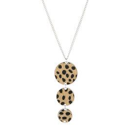 Lange ketting leopard - Beige