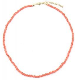 Ketting glass beads - koraal roze