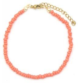 Armband glass beads - koraal roze