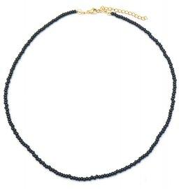 Ketting glass beads - Zwart