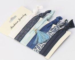 Ibiza elastiekjes tassel - Blauw