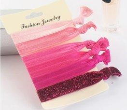Ibiza elastiekjes glitter - Roze