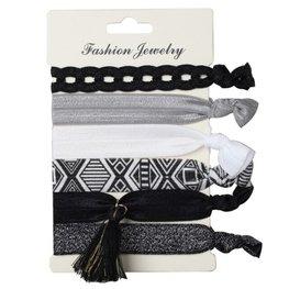 Ibiza elastiekjes tassel - Zwart/wit
