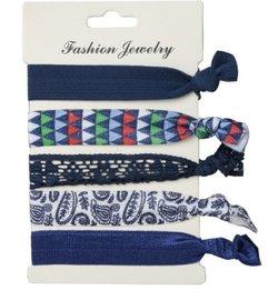 Ibiza elastiekjes - Blauw paisley