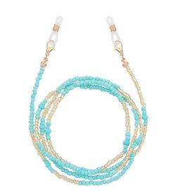 Brillenkoordje beads - Blauwgroen/goud