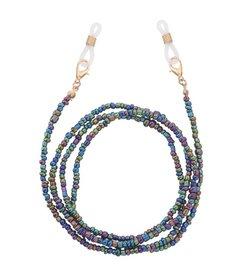 Brillenkoordje beads - Glanzend groen/paars/blauw