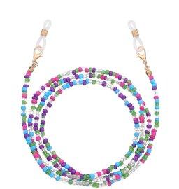 Brillenkoordje beads - Blauw/paars/groen/transparant