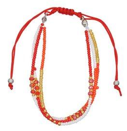 Armband seed beads - Oranje/rood/wit