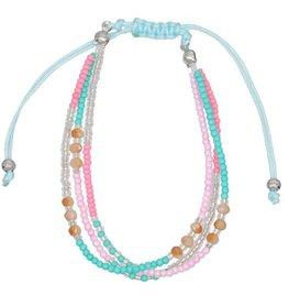 Armband seed beads - Blauw/Roze/Zilver