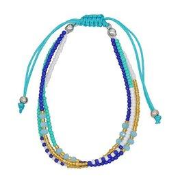 Armband seed beads - Blauw/wit/Goud