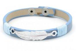 Armband blauw leer met veer