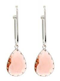 Oorbellen kristal dreams - Zilver/Champagne roze