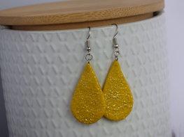 Handmade druppel oorbellen - Sparkling yellow