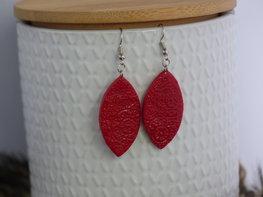 Handmade ovalen oorbellen - Wild fire red