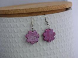 Handmade bloemen oorbellen - Holy purple