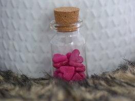 Handmade gift - Bottle of love pink