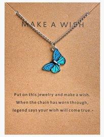 Make a wish ketting vlinder - Zilver/Blauw