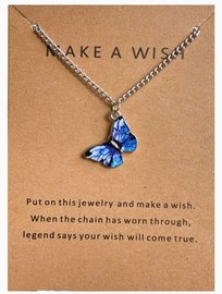 Make a wish ketting vlinder - Zilver/paars
