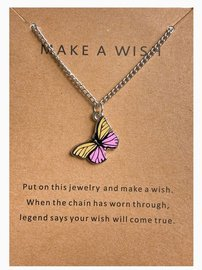 Make a wish ketting vlinder - Zilver/geel/roze