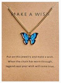 Make a wish ketting vlinder - Goud/blauw