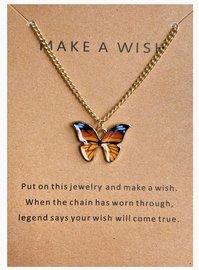 Make a wish ketting vlinder - Goud/Oranje