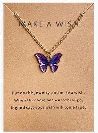 Make a wish ketting vlinder - Goud/Paars