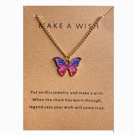 Make a wish ketting vlinder - Goud/roze