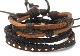 Heren armbanden set - Bruin
