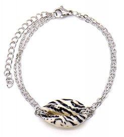 Armband schakel schelp zebra - Zilver