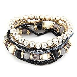Elastische kralen armbanden set -zwart/goud