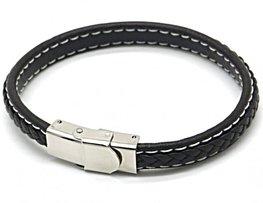 Heren armband leer/stainless steel - Bruin