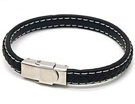 Heren armband leer/stainless steel - Zwart