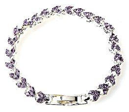 Strass armband heart - Paars