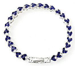 Strass armband heart - Blauw