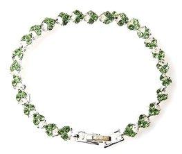 Strass armband heart - Groen