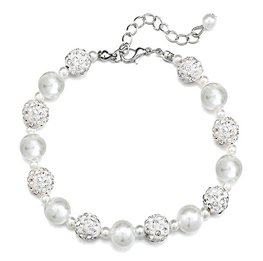 Armband pearls shamballa - Wit