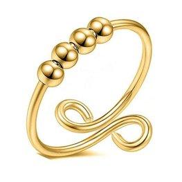 Stainless steel ring swirl - Goud