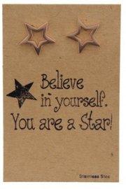 Giftcard stainless steel oorbellen stars