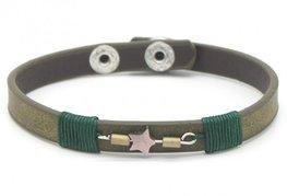 Armband leather star - Groen