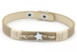 Armband leather star - Beige/bruin