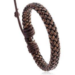 Heren armband gevlochten  - Bruin